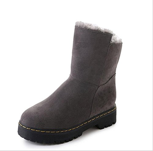 in Stiefel Damenstiefel Röhre MEILI Martin Flachboden Baumwollschuhe Mode Plateauschuhe gray Stiefel warm Leinwand Kaschmir plus Freizeit Schneeschuhe Damenschuhe der zSwxCXwqd