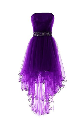 (Fanciest Women's Strapless Beaded High Low Prom Dresses Short Homecoming Gowns Purple)