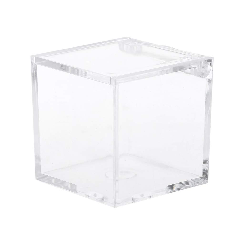YO-HAPPY Caja de Almacenamiento Transparente Cuadrada Decoraci/ón de cumplea/ños Caja de Dulces de pl/ástico Caja de Magdalenas de Almacenamiento de Dulces