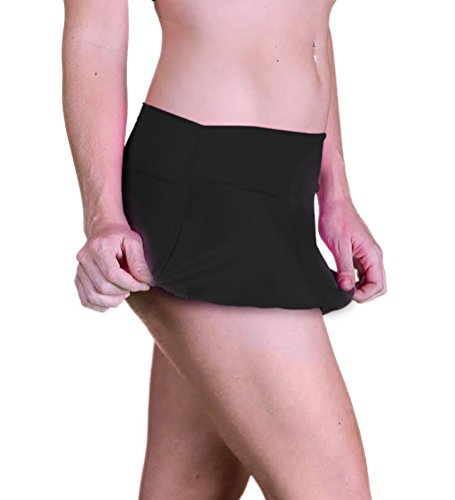Flair Mini Skirt - Delicate Illusions Sexy Micro Mini Soft Stretch Plus Size Dance Short Skirt for Women 3X (18-20) Black