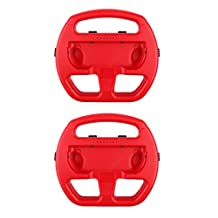 MonkeyJack 2 Pack Manipulate Grip Steering Wheel For Nintendo Switch Controller Red