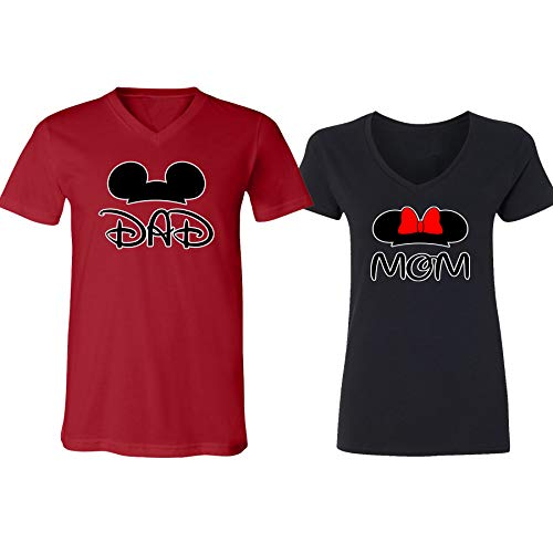 (Mickey Dad Minnie Mouse Mom Family Couple Design V-Neck Shirt for Men)