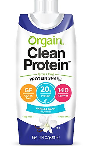 Orgain Grass Fed Protein Shake, Vanilla Bean, Non-GMO, Gluten Free, 11 Ounce, 12 Count