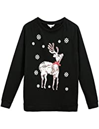 Women Long Sleeve Christmas Pullover Sweatshirt Santa Claus T-Shirt Tops