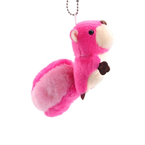 (TOYMYTOY Mini Squirrel Plush Toy Stuffed Animal Keychain Doll Key Ring Bag Pendant with Sucker (Rose Red))