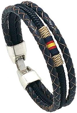 Hispania Colors Pulsera-Fortune Triple con Bandera de España, Piel y cordón Náutico (Azul Marino, 16): Amazon.es: Joyería