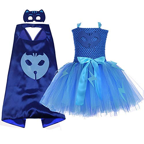 AQTOPS Superhero Costume Dress for Kids Girl Party Tutu Outfits Sets Blue, Medium -