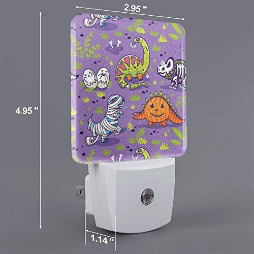 Xiaoyedenggg Jurassic Halloween Plug-in Night Light, Warm White LED Nightlight,Dusk-to-Dawn Sensor,Bedroom,Bathroom,Kitchen,Hallway,Stairs,Energy Efficient,Compact -