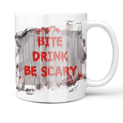 Neonblond 11oz Coffee Mug Bite Drink Be Scary Halloween Bloody Wall with your Custom Name ()