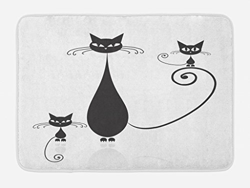 Lunarable Cat Lover Bath Mat, Mom and Kids Children Halloween Theme Paw Animals Simplistic Illustration, Plush Bathroom Decor Mat with Non Slip Backing, 29.5 W X 17.5 L Inches, Black White]()