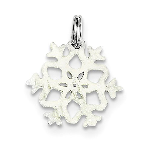 Sterling Silver Enameled Snowflake Charm (0.8in) (Enameled Snowflake Charm)