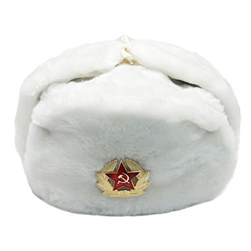 White Fur Winter Ushanka Hat with RED STAR Emblem XX-LARGE at Amazon ... e7dfc239c31f
