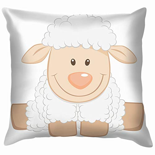 - Cartoon Baby Sheep Funny Animals Wildlife Holidays Soft Cotton Linen Cushion Cover Pillowcases Throw Pillow Decor Pillow Case Home Decor 24X24 Inch