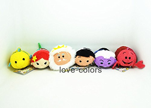 Lot 6x Disney Little Mermaid Ariel Eric Flounder Sebastian Tsum Tsum plush Toy