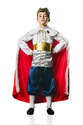 King Child Costumes Kit (Kids Boys Noble King Halloween Costume Royal Prince Dress Up & Role Play (8-11 years, white, red, golden, royal blue))