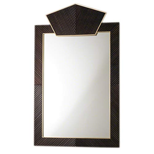 t Deco Architectural Carved Wood Mirror | Dark Brass Gold Vintage Style ()