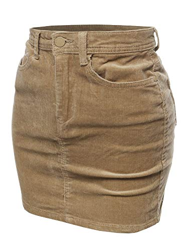 (Awesome21 Solid Corduroy High-Rise Pencil Mini Skirt Khaki Size S)