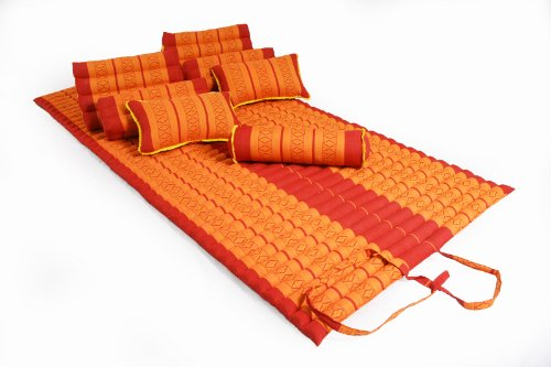 Tha Pillow Set ''Chillout'': Cushions and Pillows in Thai Traditional Design Red&Orange, 8 pieces by Handelsturm