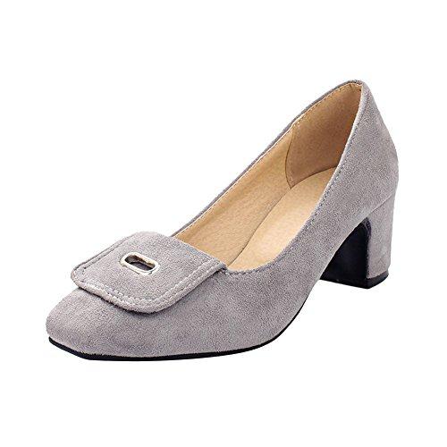Carolbar Womens Square Toe Cuff Fashion Date Party Chunky Mid Heel Pumps Dress Shoes Light Grey okD8SKHM3