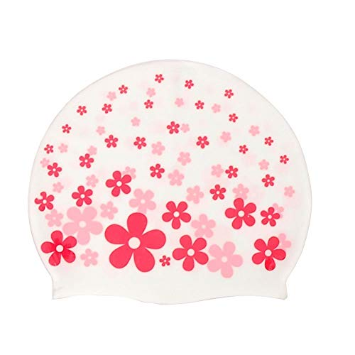 Swimming Cap,Dream Wings Waterproof Silicone Unisex Swimming Hat Flower Pattern Long Hair Hat for Kids Children,Boys and Girls for Water Sports (Flower Pink) (Child Size Hat Stand)