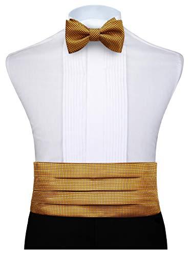 (HISDERN Men's Cummerbund Plaid Bow Tie and Handkerchief Set Gold)