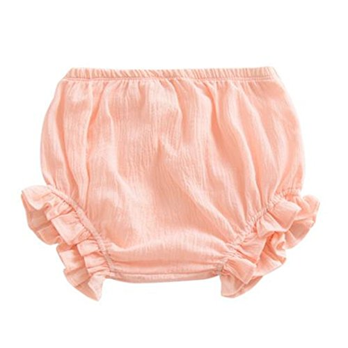 LOOLY Newborn Toddler Kids Cotton Linen Ruffle Bloomer Shorts Diaper Cover 0-2T(70,A-Pink)