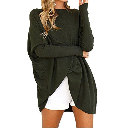 Multitrust Women Long Sleeve Loose Fit Tops Comfly Casual Tunic Tops T Shirt Dress (L, Dark Green)