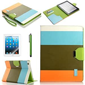 Bloutina ATC Lumsing Colorful Wallet Design Magnetic PU Leather Stand Case Smart Cover for Apple iPad 2, iPad 3 (the new...
