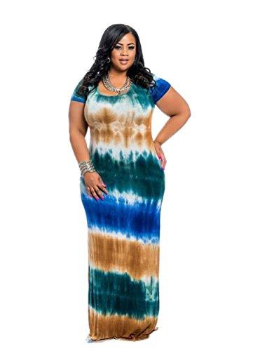 HPLY Women 2018 New Short Sleeve Tie Dye Dresses Plus Size Loose Casual Maxi Long Dress Green/4XL