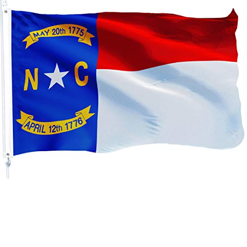 G128 - North Carolina State Flag | 3x5 feet | Printed 150D - Indoor/Outdoor, Vibrant Colors, Brass Grommets, Quality Polyester, Much Thicker More Durable Than 100D 75D Polyester - North Carolina Outdoor State Flag