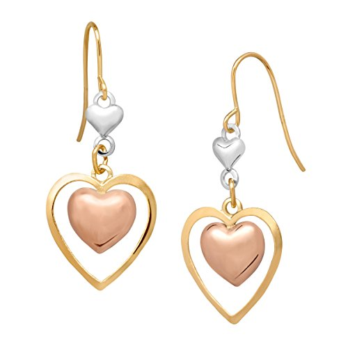 Gold 14k Earring Dangle Heart - Just Gold Double Heart Drop Earrings in 14K Tri-Colored Gold
