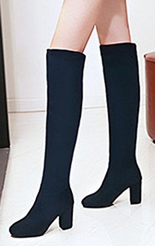 Aisun Vrouwen Faux Suede Eenvoudige Ronde Neus Chic Slanke Trekkracht Op Hoge Dikke Hakken Over De Knie Hoge Laarzen Marine Blauw