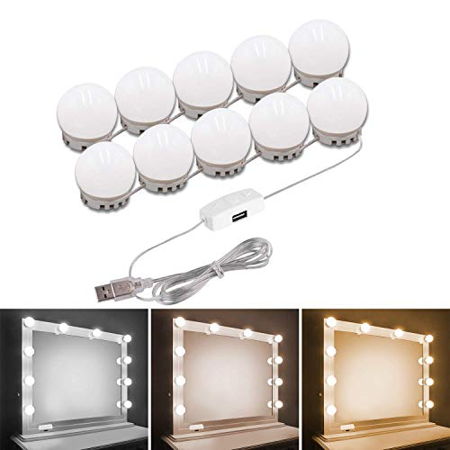 - Vanity Mirror Lights Kit,Pretmess 3 Dimmable Color with 10 LED Light Bulbs for Vanity Table Set and Bathroom Mirror,Hollywood Style Lighting Fixture Strip with USB Charging Cable(Mirror Not Include).