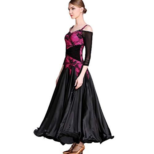 Femmes Dentelle Performance Robes trot Pour Moderne Jupe Costume m Valse Fox Salon compétition Danse De Rose Bretelles Les Wqwlf 0wYxgqvng