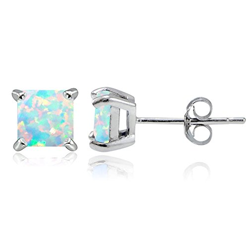 Sterling Silver Created White Opal 5mm Square Stud Earrings