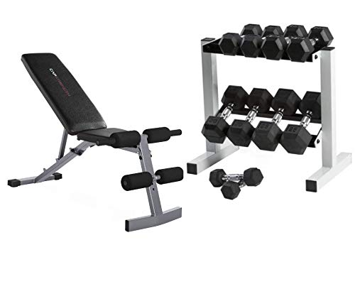CAP Barbell 150-lb Rubber Hex Dumbbell Weight Set (Horizontal with Bench)