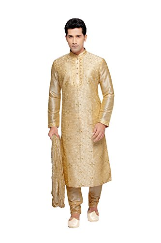 Jaipur Collections Indian Kurta Pajama Set For Men Wedding Festival Partywear In Gold Dupion Silk by Jaipur Collections