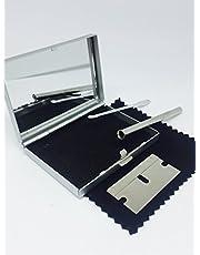 Zilveren KIT Box Set, metalen spiegel CASE snuifstro, Snuff lepel - UK Seller