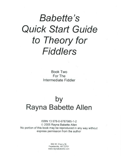- Babette's Quick Start Guide to Theory for Fiddlers Book Two