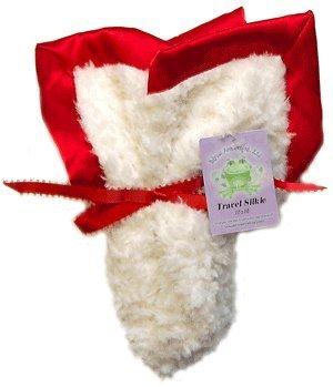 Travel Silkie Blanket in Vanilla Crème with Red Silky Satin Flat Trim (Blanket Chenille Vanilla)