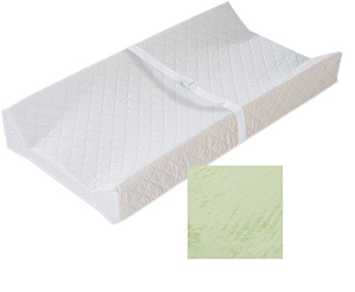 """Price comparison product image Maven Gifts: Baby Changing Pad Bundle – Summer Infant Contoured Changing Pad,  32"""" x 16"""" x 4"""",  White,  with Summer Infant Ultra Plush Change Pad Cover,  Geo – Newborn to 30 Lbs."""