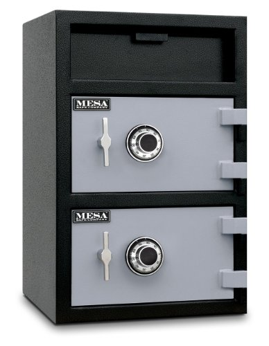 Mesa Safe MFL3020CC All Steel Depository Safe with Two Combination Locks, 3.6-Cubic Feet, Black and Grey