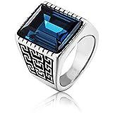 خاتم رجالي أزرق من معدن التيتانيوم على شكل عتيق