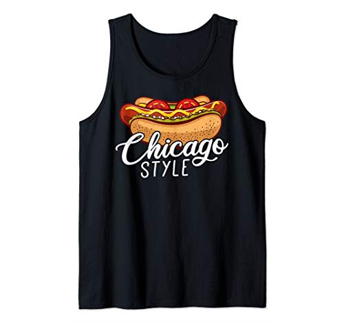 Chicago Style HOT DOG Gift Hotdog Tank Top (Hot Dog Stand In Chicago Tv Show)