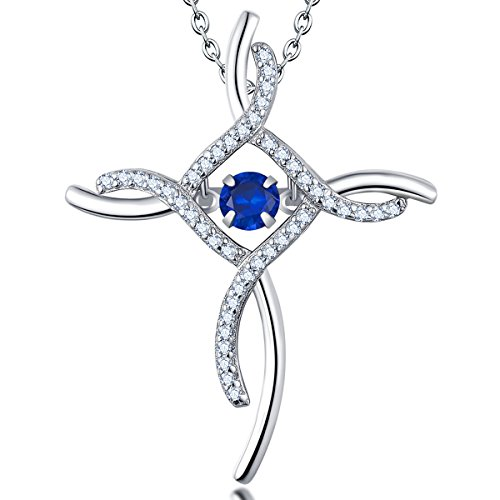 YL Women's Celtic Cross Necklace Sterling Silver Cubic Zirconia Loop Infinity Pendant Dancing Created Sapphire Crucifix Jewelry from YL