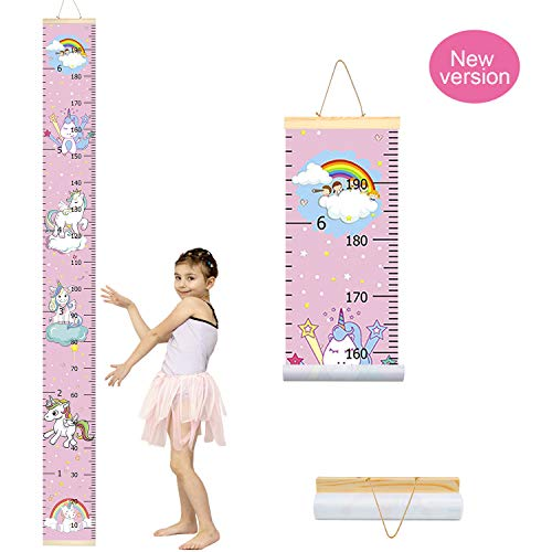 Art For Kids Growth Chart - Trendypie Kids Unicorn Growth Chart Baby Roll-up Wood Frame Canvas Removable Height Measurement Ruler Wall Hanging Height Ruler Wall Art Decor for Nursery Room Bedrooms 79