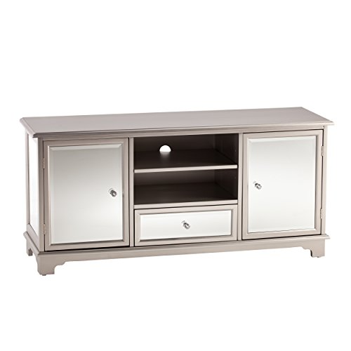 Southern Enterprises Mirage Mirrored Tv Media Stand Mirror Surface W Faux Crystal Knobs Glam Style