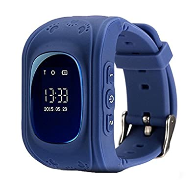GPS Tracker Watch Pater Joy Children SOS Smart Watch ,Support Micro SIM and Voice Chatting ,Remote monitoring?Call Location Device Tracker for Kid Safe Anti-Lost Monitor(Dark Blue).