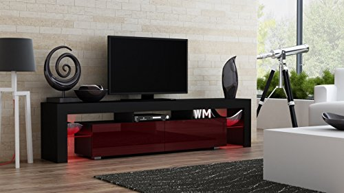 TV Stand MILANO 200 Black Body / Modern LED TV Cabinet / Living Room Furniture / Tv Cabinet fit for up to 90-inch TV screens / High Capacity Tv Console for Modern Living Room (Black & Burgundy)