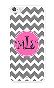Monogram Personalized White and Grey Chevron With Pink Circle Pattern iPhone 5C Case - Fits iPhone 5C T-Mobile, AT&T, Sprint, Verizon and International (Black)